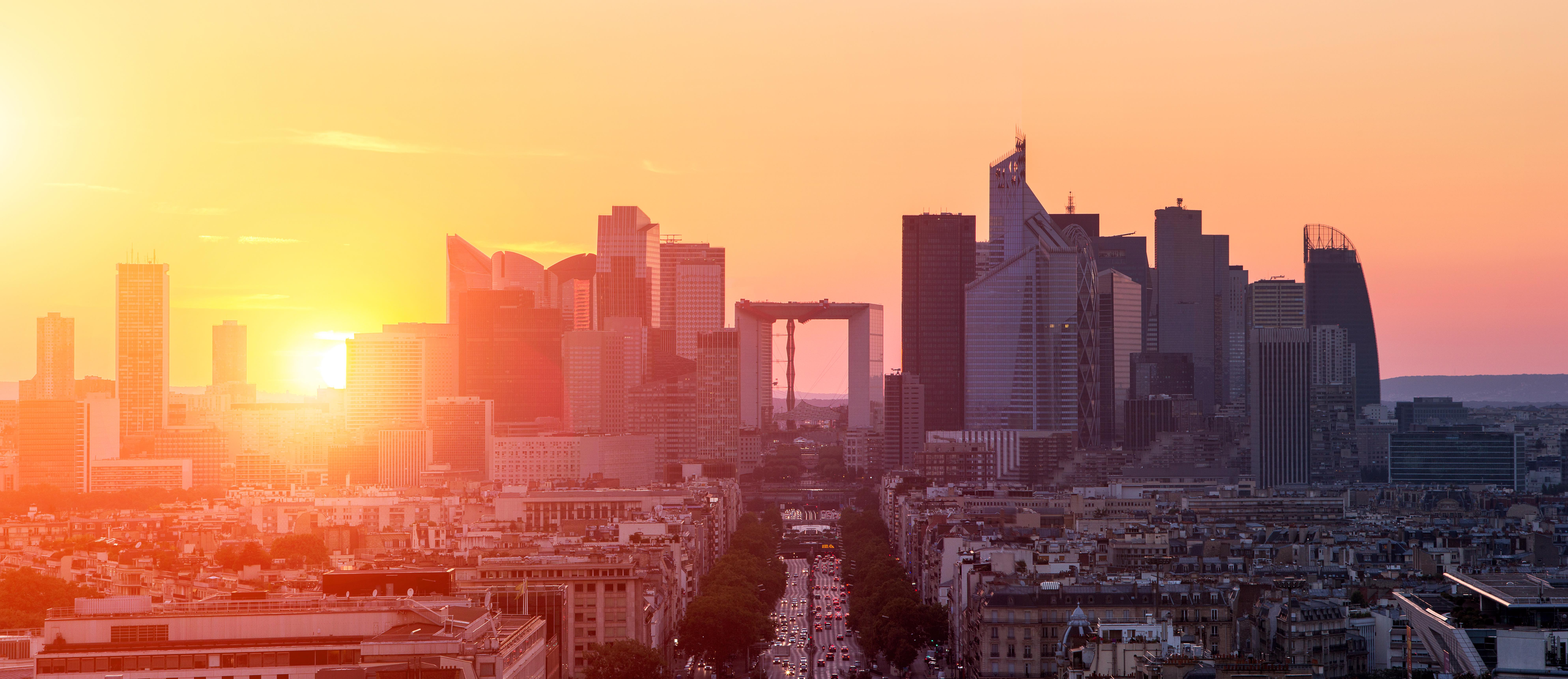 View of La defense district business in Paris at sunset, view from arc de triomphe